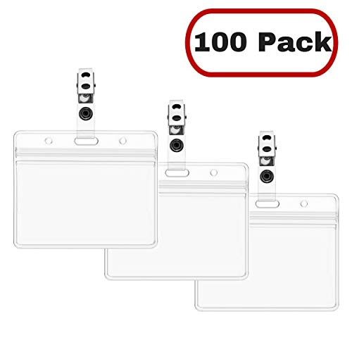 (Mata1 ID Holder with Clip, Plastic Badges with Clips, Horizontal Name Tag and Metal Clip (Clear, 2.25x3.5