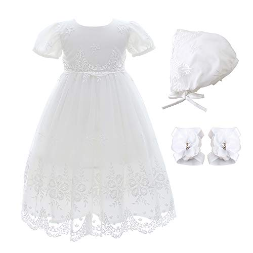 Xangirl Baby Girl Princess Embroideries Dresses 3Pcs Set Formal Baptism Dress Formal Party Gown (Best Theme For Christening)