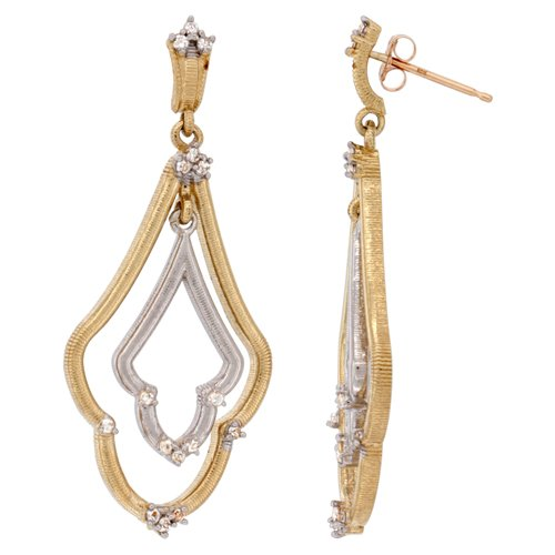 14K 2-tone Gold White Sapphire Earrings Diamond Accent, 1 3/4 inches long (Silver Chandelier Tone Diamond Earrings)