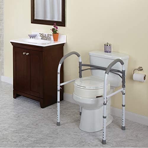 Carex Toilet Safety Rails – Toilet Handles for Elderly and Handicap – Home Health Care Equipment Toilet Safety Frame 41CuT61oZ8L