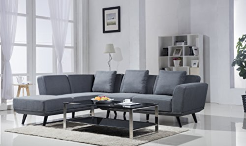Century Modern Linen Sectional Chaise