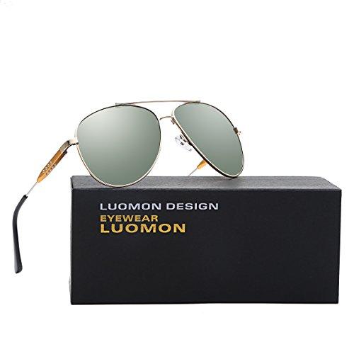 LUOMON LM1573 Gold Frame/G-15 Lens Polarized Oversized Aviator - G-15 Lenses