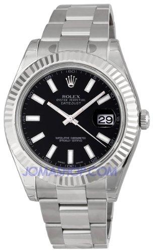 Rolex Datejust II Black Index Dial Fluted 18k White Gold Bezel Oyster Bracelet Mens Watch 116334BKSO