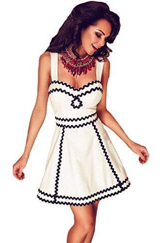 Mujer Nuevo Blanco y Negro sin mangas Patinador Vestido Club Summer Wear Casual Dance wear tamaño L UK 10–�?2