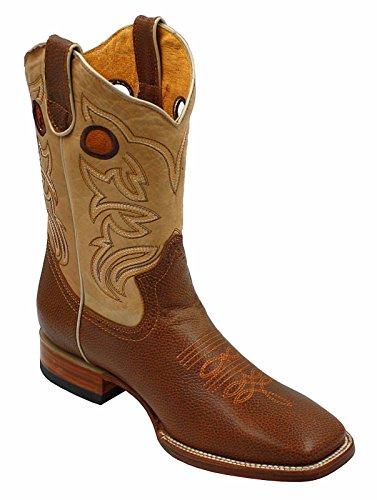 Hommes Rodéo Cowboy Western En Cuir Véritable Imprimé Animal Orteil Bottes Tan