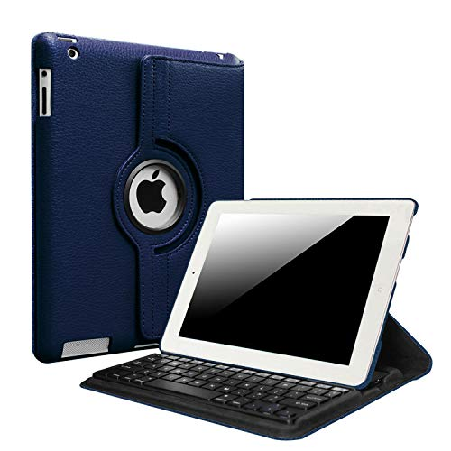Fintie iPad 4/3/2 Keyboard Case - 360 Degree Rotating Stand Cover with Built-in Wireless Bluetooth Keyboard for iPad 4th Gen with Retina Display, iPad 3 & iPad 2, Navy