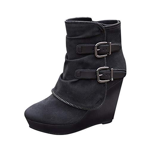 Rainlin Women's Buckle Wedge Booties High Heel Platform Ankle Boots Size 8 Black