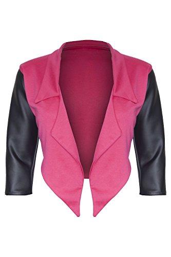 Be Jealous - Blazer Femmes PVC Manche 3/4 Ouvert Grande Taille - 46, Cerise