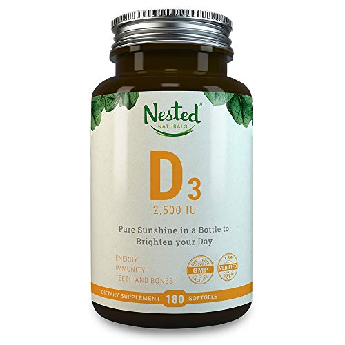VITAMIN D3 2500 IU | 180 Premium Quality Vegetarian Softgels | Pure Daily D Vitamins Supplement for Men & Women | Made With Ethically Sourced Lanolin | 100% Non GMO, Gluten, Soy Free Supplement