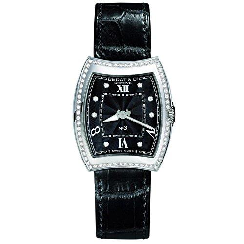 Bedat & Co Women's No.3 Diamond Black Leather Band Steel Case Quartz Analog Watch 316.020.309