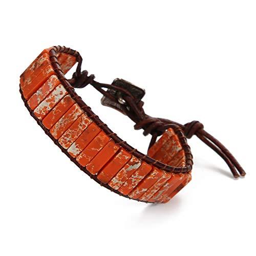 WELLVO Chakra Healing Handmade Imperial Jasper Nature Stone Wrap Bracelets Leather Bracelets for Men Women Adjustable Bead Yoga Bracelets (Orange)