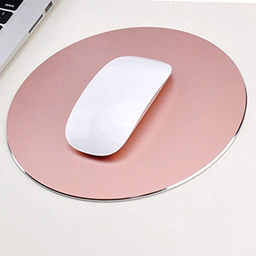 Mouse Pad Aluminum Mouse Pad. Non-Slip Aluminium alloy Surface for Fast and Accurate Control Rubber Gaming Mouse Pad (rose gold)