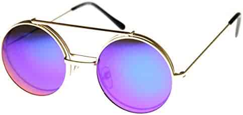 3c1ad0b0e913f Limited Edition Red Mirror Flip-Up Lens Round Circle Django Sunglasses