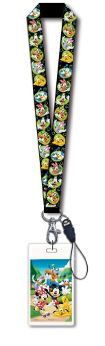 Disney Mickey & Gang Black Lanyard with Card Holder (Card Sleeves Skeleton)
