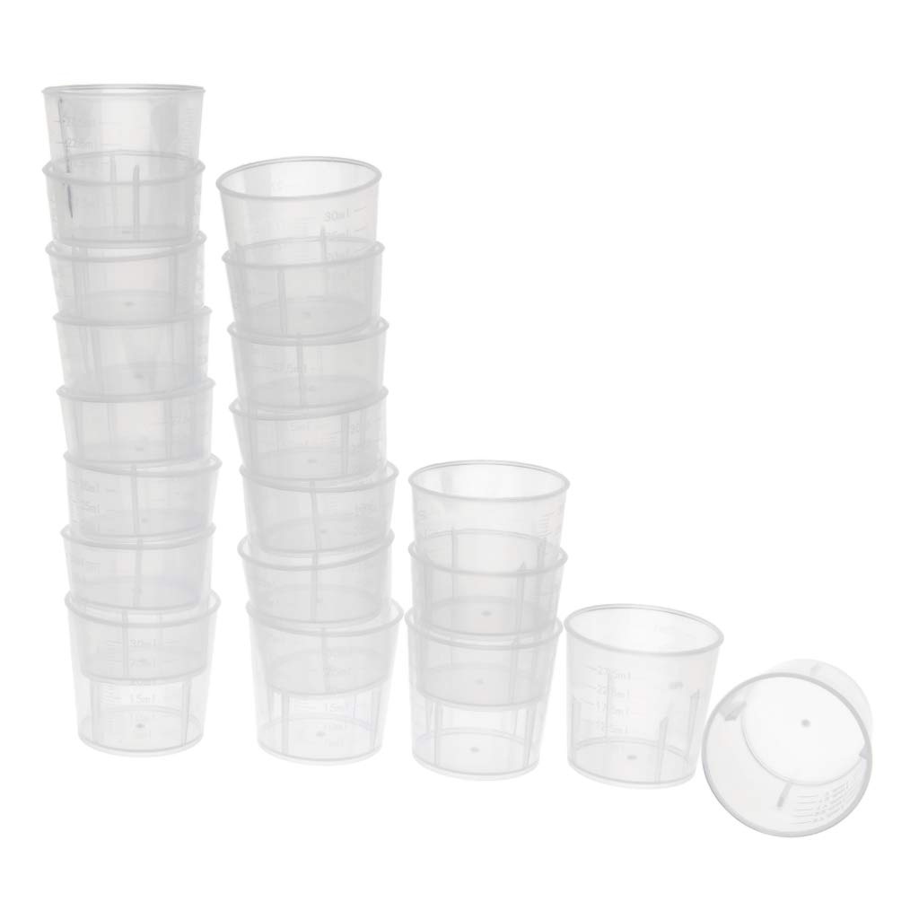 Baosity Pack of 20pcs 30ml Plastic Graduated Laboratory Lab Test Measuring Container Cups