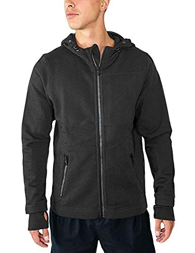 Woolx Men's Grizzly Full Zip Merino Wool Hoodie For Extreme Warmth, Charcoal Heather, X-Large
