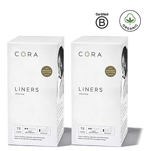 Cora Ultra Thin Organic Cotton Women's Breathable Panty Liners (New Organic 144) by Cora
