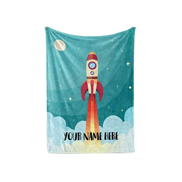 Personalized Kids Rocket Launch Space Theme Fleece Blanket – Boys Girls Toddler Baby Throw Blanket Perfect for Travel, Portable, Nursery (50″ x 60″ – Child)