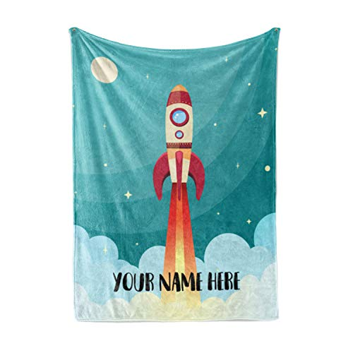 (Personalized Kids Rocket Launch Space Theme Fleece Blanket - Boys Girls Toddler Baby Throw Blanket Perfect for Travel, Portable, Nursery (30