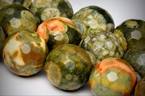 Approx.31 Beads Lot - 12mm Rainforest Rhyolite Color Grade AA Micro Faceted Round Loose Jewelry Making Beads 14.5