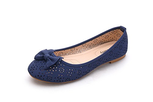 Mila Dame Perforée Laser Cut Ballerine Chic Appartements Flats W / Bow (dana02) Marine