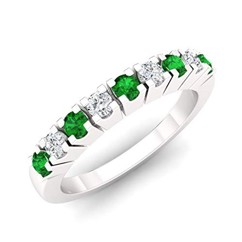 - Diamondere Natural and Certified Emerald and Diamond Wedding Ring in 14K White Gold | 0.37 Carat Half Eternity Stackable Band for Women, US Size 7.5