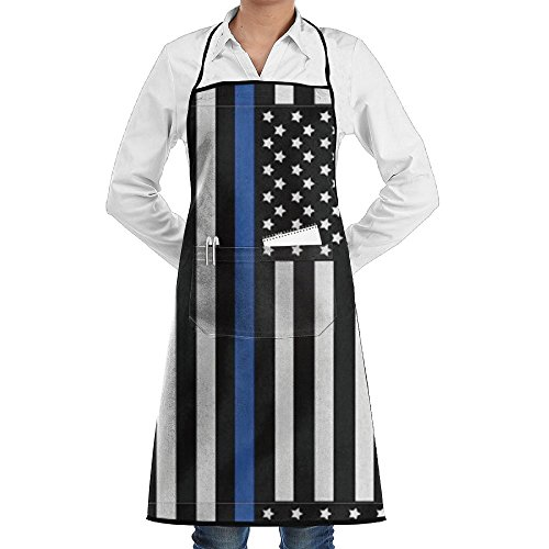 ZSDWW Unisex Chef's Aprons Deluxe The Police Thin Blue Line American Flag Professional Grade Chef Apron For Kitchen, BBQ