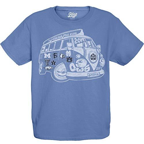 College Tee World Series - 2019 NCAA College World Series CWS 8 Team Youth Blue VW Bus T-Shirt (XL)