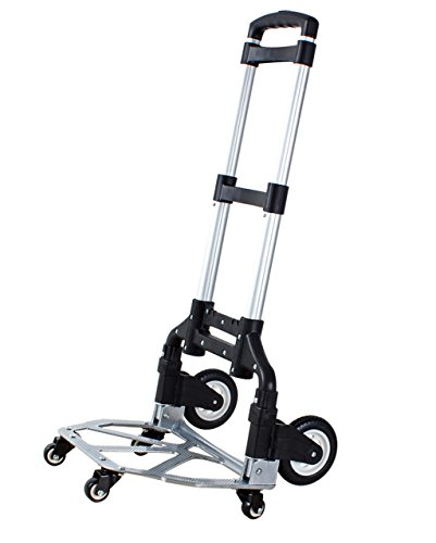 Moving Small Pull Car Portable Shopping Cart Hand Truck Trolley Pull Rod Trolley Fold Van Mute Luggage Cart Explosion-proof Rubber Wheels Six-wheeler Load 68KG Strong and firm (Color : ()