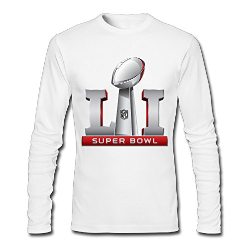 Mens Super Bowl 51 Li Logo 2017 Long Sleeve Tee White