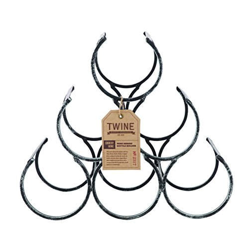 Country Home Wine Shrine by Twine – 6 Bottle Free Standing Metal Wine Rack (Tabletop Wine Rack Metal)
