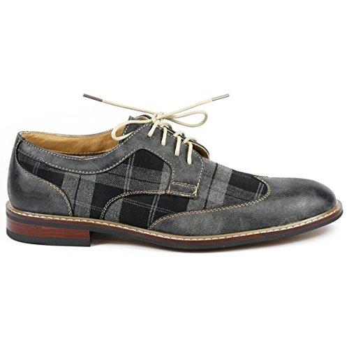 Ferro Aldo M-19266a Mens Lace Up Plaid Oxford Dress Scarpe Classiche Grigio