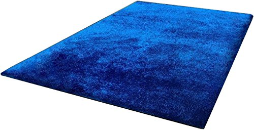 CHIC RUGZ Amore Collection Hand Tufted Weave Solid Electro Blue Shag Area Rug, 5' x 7'