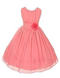 iGirlDress Little Girls' Yoro Chiffon Flower Girls Dress 4 Coral