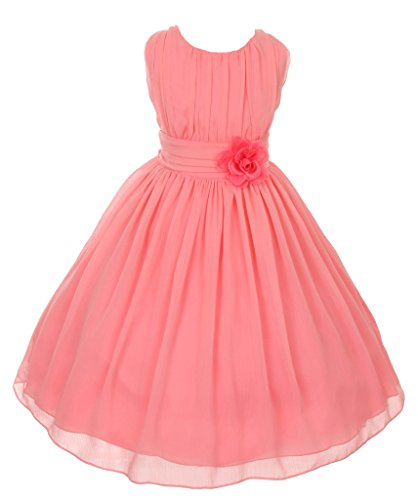Pink Coral Flower Natural (iGirlDress Little Girls' Yoro Chiffon Flower Girls Dress 6 Coral)