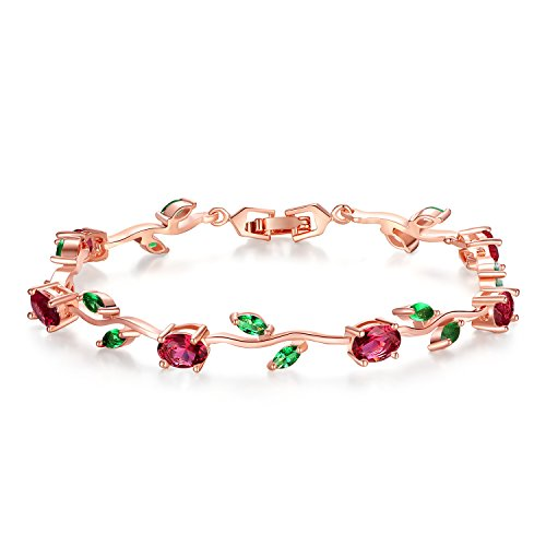 BISAER Lovely Rose Gold Plated Bracelets AAA Cubic Zirconia Ruby Flower Emerald Leaf Beautiful Vine Bracelet Women 7 inch-Ideal Tennis Bracelets -