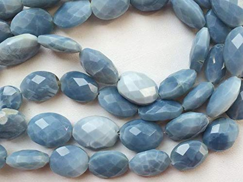(GemAbyss Beads Gemstone 5 Strand Natural Blue Opal Beads - Blue Opal Faceted Oval Nuggets, Blue Opal Necklace, 14mm, 7 Inch Code-MVG-17706)