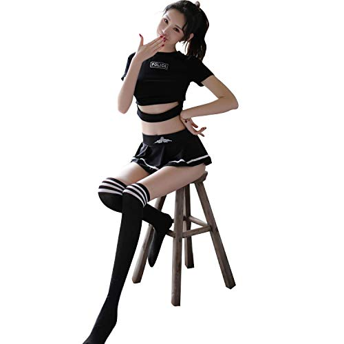 (YINUOQI Womens Sexy Police Officer Uniform Set Football Cheerleader Costume Schoolgirl Halloween Lingerie Outfits (S))