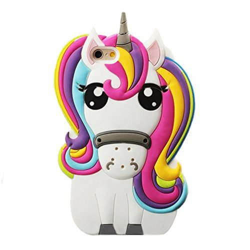 Rainbow Unicorn iPhone 4 4S Case,Awin 3D Cute Cartoon Rainbow Unicorn Horse Animal Soft Silicone Rubber Case(Rainbow Unicorn)
