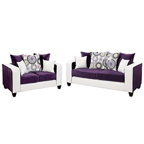 Flash Furniture Riverstone Implosion Purple Velvet Living Room Set
