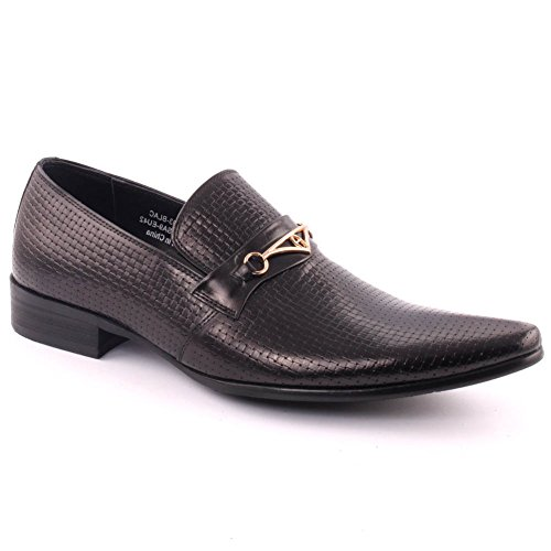 Unze Men's 'Frankies' Leather Perforated Formal Slip-on Prom Wedding Party Office Oxfords UK Size 7-11 - 388-507H