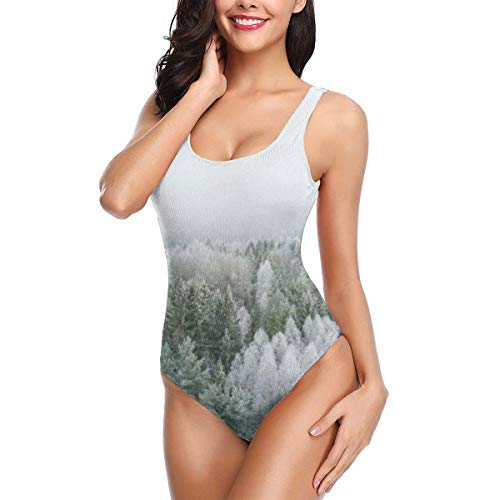 (White Pine Tree Forest Covered with Snow and Frost Women's One Piece Swimsuits for Women Athletic Swimwear Bathing Suits S)