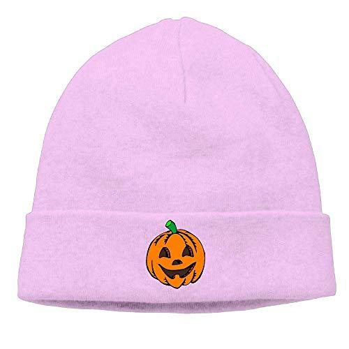Men's&Women's Pumpkin Clipart Halloween Soft Skull Beanie Cap Pink