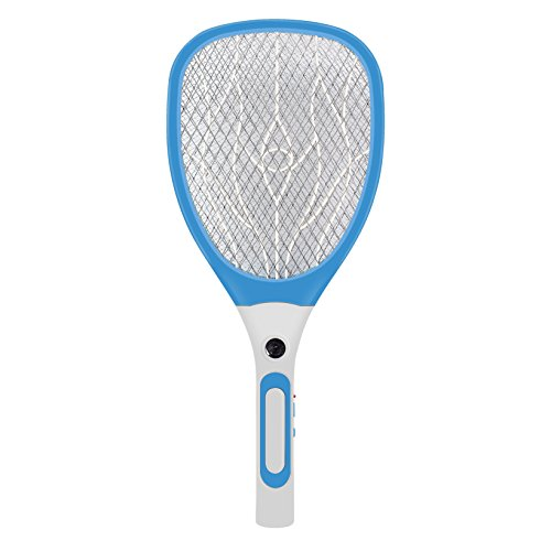 Micnaron Electric Bug Zapper Rechargeable Fly Swatter, USB Charging Fly Killer Racket with 3000 Volt (Unique 3-Layer Safety Mesh and Ultra-Bright LED)(Blue)