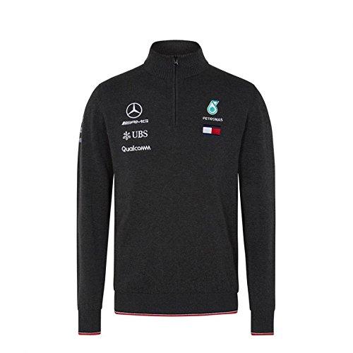 Mercedes AMG F1 Team Half Zip a Maglia Saltatore Buio Grigio Ufficiale 2018