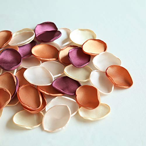 UNIQOOO 450Pcs Silk Satin Rose Petals for Weddings, Artificial Flowers Decoration -Grape/Champagne/Blush/Caramel, Flower Girl & Aisle Petals, Great for Party, Bridal Shower, Home Decor