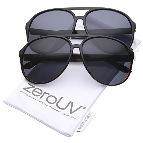 zeroUV - Retro Large Protective Polarized Lens Aviator Sunglasses 60mm (2-Pack   Black & Tortoise - Tortoise Or Frames Black