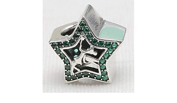 Calvas Authentic 925 Sterling Silver You are My Star Clip Stoper Charms Clear Red Purple Pink CZ Fit European Bracelets Jewelry Color: Red