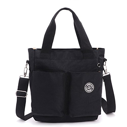 Women Lightweight Water Bag Nylon Mommy Handbag Style Black Tiny Tote body for Bag Resistant Cross Chou STwUx56qf