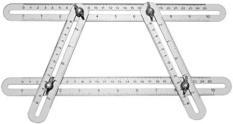 QWORK Multi Angle Layout Measuring Ruler, Stainless steel Angle Template/Layout Tool, Universal Ruler for Handymen, Builders, Craftsmen, DIYers